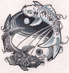 80 Diseños para Tatuajes de carpas y que significan | Belagoria | la web de los tatuajes Pez Koi Tattoo, Snake Tattoo, Koi Fish Drawing, Fish Drawings, Yin Yang Tattoos, Pisces Tattoos, Yin Yang Koi, Asian Tattoos, Fish Tattoos