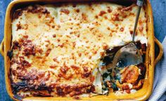 roast squash lasagne with spinach and cheese on top.