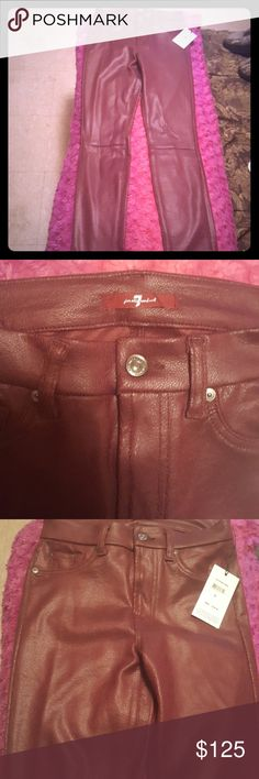 """7 for all Mankind leather look & feel jeans 7 for all Mankind leather look & feel jeans.  Never worn.  Great merlot color.  """"A sueded knit sculpts these ultra-svelte skinny pants finished with a crackled coating for a leather-like look. (size 26).Zip fly with button closure.Dark dye may transfer to lighter materials.90% polyester, 10% spandex. Hand wash cold, line dry. By 7 For All Mankind®; made in the USA of imported fabric.t.b.d.Item #222750 """" 7 For All Mankind Jeans Straight Leg"""