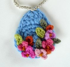 Crochet Blue with Pink Flowers Pendant Necklace   Flickr - Photo Sharing!