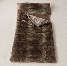 Faux fur sleeping bag...because I camp, Bitches :)