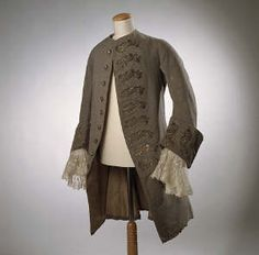 This is an example of a frock coat from the 18th century. These coats are distinguished by their flat collars.