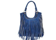 Passage West Marina Blue Fringe Purse with Rhinestones Cowgirl Western Style
