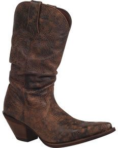 Durango Womens Crush Drunken Slouch Cowgirl Boots - Snip Toe, Dark Brown