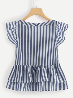 V Neckline Single Breasted Striped Babydoll Top -SheIn(Sheinside)