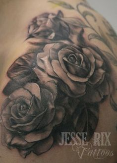 Rose Tattoo Designs for Girls | black and white rose tattoo