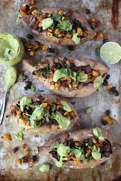 Spicy Southwest Loaded Sweet Potatoes with Cilantro Lime Avocado Cream (vegan & gluten free)