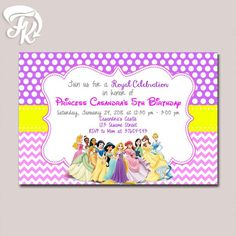 How to order complete data on size invitation name age princess disney all character castle birthday party card digital invitation stopboris Image collections