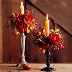 Attach harvest-colored flowers to the base of candles for a pretty fall table topper. More pretty Thanksgiving centerpieces: http://www.bhg.com/thanksgiving/indoor-decorating/pretty-thanksgiving-centerpieces/?socsrc=bhgpin111412flowercenterpiece#page=18
