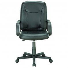 Black Modern Mid Back Padded Office Chair - Chairs - Office - Office/Patio