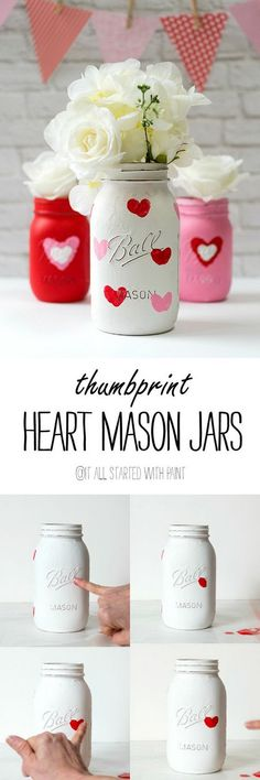 Valentine Kid Craft Thumbprint Heart Jars.