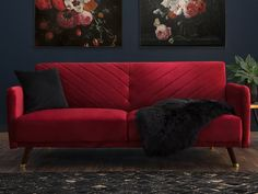Velvet Fabric Sofa Bed Red SENJA Convertible 3 Seater in Minimalist Design – Sofa Design 2020