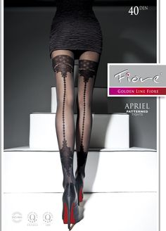 9180cd42fa23c Fiore Apriel Gold Line 40 Denier High Fashion Patterned Tights ! Fiore Gold  Line Apriel FashionTights! Top-quality, sheer-to-waist, with comfortable  flat ...