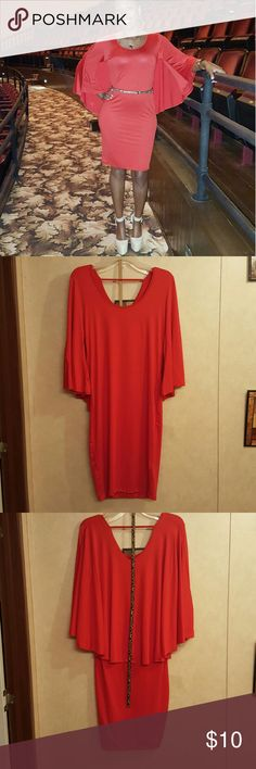 Red Cape Dress Worn once to company Christmas party. Worn with leopard belt which can be included with dress. Dresses Midi