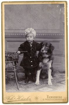 CABINET CARD CUTE YOUNG CHILD & LARGE DOG...SAILOR/ACHOR PIN ON CHILD