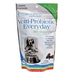 Veri-Science Laboratories Verti-Probiotic Everyday Chew ~ Assist in digestion and prevent gas, bloating and bad breath. Enhance the function of the immune system.  Promote regularity. Produce vitamin B and enzymes. Provides 1 billion CFU's of probiotics per serving. Contains 9 strains of probiotics. C$29.95 each