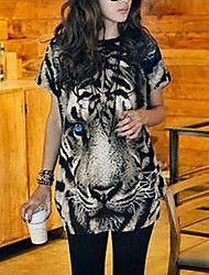 Kvinners Tiger Print Long T-skjorte