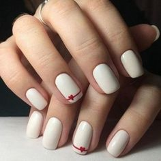 nail art designs for spring ; nail art designs for winter ; nail art designs with glitter ; nail art designs with rhinestones Simple Acrylic Nails, Acrylic Nail Art, Easy Nail Art, Acrylic Nail Designs, Simple Nails, Simple Nail Arts, Cute Simple Nail Designs, Heart Nail Designs, White Nail Designs