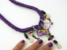 Needle lace necklace with lilac & white flowers and by MsPolite, $36.00