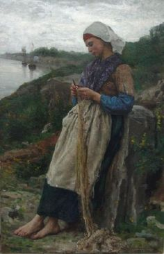 The fisherman's daughter. Jules Breton (1827-1906) was a 19th-century French Realist painter.  During his lifetime, Breton was one of the most popular artists in France, England, and the United States.  He is famous for painting female figures, usually portrayed in a beautiful landscape and posed against the setting sun.  Breton often produced copies of his artwork and exhibited them in salons.