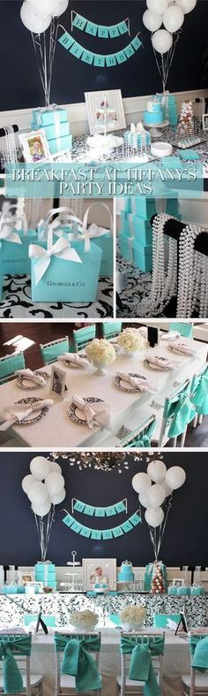 Super Ideas Breakfast At Tiffanys Party Ideas Sweet 16 Bridal Shower Tiffany Party, Tiffany Birthday Party, Tiffany Theme, Birthday Parties, Birthday Ideas, Birthday Gifts, Breakfast At Tiffanys Party Ideas, Breakfast Ideas, Tiffany Baby Showers