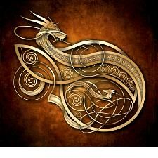 Gold Norse Dragon by naumaddicarts . I was to ever get a dragon tat Celtic Patterns, Celtic Designs, Viking Designs, Celtic Symbols, Celtic Art, Bild Gold, Art Viking, Tattoo Bauch, Celtic Dragon