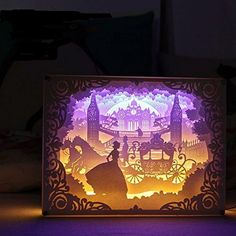 TEAM WORK Papercut Light Boxes ( Cinderella ), Creative Bedside Lamp of Remote Control , Soothing Light for Contemporary Living Spaces,3D Shadow Box USB ...