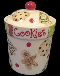 Image detail for -Holiday Cookie Jar Christmas Cookie Jars, Holiday Cookies, Christmas Kitchen, Christmas Time, Xmas, Kinds Of Cookies, Cute Cookies, Peanut Blossoms, Date Bars