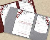 DiY Pocket Wedding Invitation Template Set - Instant DOWNLOAD - EDITABLE TEXT - Exquisite Vines (Red & Gray)  - Microsoft® Word Format