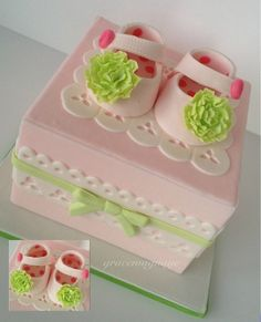 Baby shoes cake for baby showers