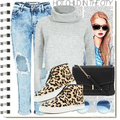 Casual weekend outfit inspiration with a roll-neck jumper and animal print trainers #aw14 #fashion #style #inspiration