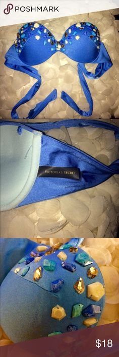 Victoria's Secret Gem Bathing Suit Top Beautiful blue gem bathing suit top. Never actually wore it! Straps are missing but you could easily hook on your own! Victoria's Secret Swim Bikinis