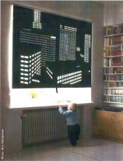 Better View is a series of perforated black out roller blinds designed by Elina Aalto. Light seeps in through the small cut out holes creating an image of a city by night. The cut-outs represent the light in the windows of apartment buildings and office complexes in the city.