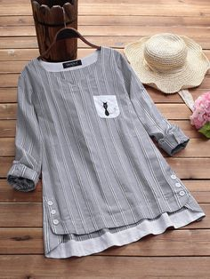 Vintage Cotton Side Buttons Embroidered Blouse Button Up Pleated Splice Cotton Blouse Kurta Designs, Blouse Designs, Cotton Blouses, Women's Blouses, Cotton Pants, Blouse Vintage, Embroidered Blouse, Casual T Shirts, Loose Shirts