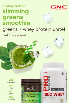Combining Earth Genius Core Slimming Greens, GNC Pro Performance Whey Protein, spinach and almond milk, this smoothie is a convenient way to add nutrients and additional protein to your diet plan without sacrificing calories. Blend one up, and start Smoothie Packs, Green Smoothie Recipes, Yummy Smoothies, Whey Protein Recipes, Soy Protein, Energy Smoothies, Green Tea Benefits, Healthy Drinks, 100 Whey