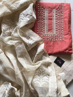 New arrivals in Salwars – VIKA Boutique Churidar Designs, Kurta Designs Women, Kurti Neck Designs, Kurti Designs Party Wear, Kurti Embroidery Design, Embroidery Suits, Embroidery Fashion, Simple Pakistani Dresses, Pakistani Dress Design
