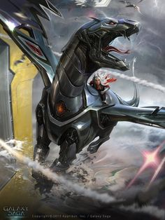 Digital Art by Matias Murad, robot dragon, sci-fi