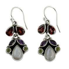 NOVICA 925 Sterling Silver MultiGemstone Chandelier Earrings with Garnet and Moonstone Rainbow *** More info could be found at the image url.