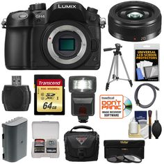 Panasonic Lumix DMC-GH4 4K Micro Four Thirds Digital Camera Body with 20mm f/1.7 II Lens + 64GB Card + Battery + Case + Tripod + Flash + Filters Kit. KIT INCLUDES 14 PRODUCTS -- All BRAND NEW Items with all Manufacturer-supplied Accessories + Full USA Warranties:. [1] Panasonic Lumix DMC-GH4 4K Micro Four Thirds Digital Camera Body + [2] Panasonic 20mm f/1.7 II Lens + [3] Transcend 64GB SDXC UHS-3 Card +. [4] Spare DMW-BLF19E Battery + [5] PD-C25 Case with Rain Cover + [6] 46mm…