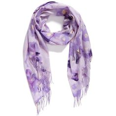 Women's Nordstrom Impressionist Garden Wool & Cashmere Scarf ($99) ❤ liked on Polyvore featuring accessories, scarves, purple combo, woolen shawl, long shawl, wool scarves, nordstrom shawls and lightweight scarves
