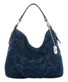 Anna Morellini Blue Swirl Leather Hobo | zulily