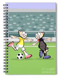This 6 x 8 spiral notebook features the artwork spain faces soccer player tries to kick the ball while the opponents defense tries to obstruct it soccer greeting cards player cartoon child sport football m4hsunfo