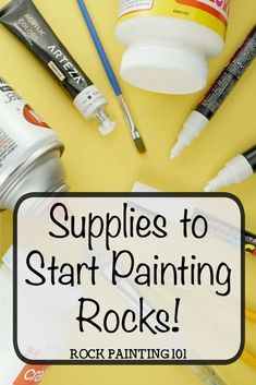 garden painting Supplies for rock painting. Get the supplie you need to start painting rocks. From what paints to use to the proper sealers. Get all the details for your first stone painting project! Rock Painting Supplies, Rock Painting Ideas Easy, Rock Painting Designs, Paint Designs, Rock Painting Ideas For Kids, Painting Rocks For Garden, Pebble Painting, Dot Painting, Pebble Art