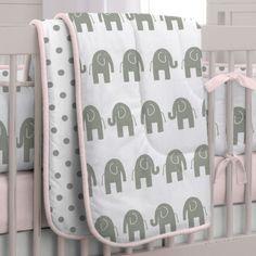Pink and Gray Elephants Crib Comforter   Carousel Designs