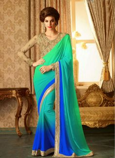 Impeccable Green and Blue Embroidered Fabulous Saree
