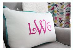Monogram Pillow in a Baby Girl Nursery - love the look!