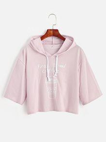 Pink Coffee Cup Slogan Print Drawstring Hooded T-shirt