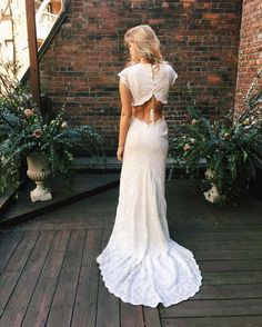 """Unique Crochet Lace Bohemian Wedding Dress with Open Back and Lace Up - """"Olsen"""" by Daughters of Simone"""