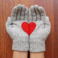 Handschuhe Herz Hellgrau, 25€, jetzt auf Fab.