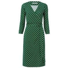 Diane von Furstenberg New Julian Two Silk Jersey Wrap Dress ($398) ❤ liked on Polyvore featuring dresses, dots green, short, wrap dress, short green dress, 3/4 sleeve wrap dress, short wrap dress and silk jersey